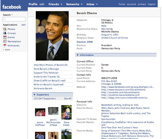 Barack Obama sur Facebook